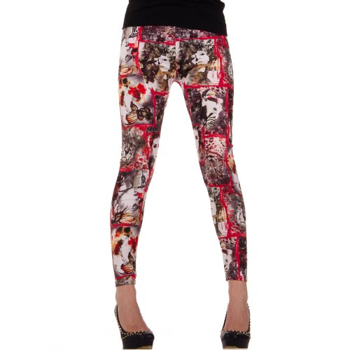 Damen Leggings, LEGGINGS, HOSE STRÜMPFE, von Hot-Fashion, SS-BF92300, Leo Rot, ONE SIZE