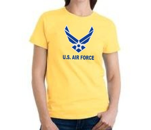 Custom U.S. Air Force Wings Logo On Ladies T-Shirt, Large, Daisy