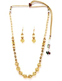 Zaveri Pearls Gold Filigree Beeds & Pearls Long Necklace Set - ZPFK5419