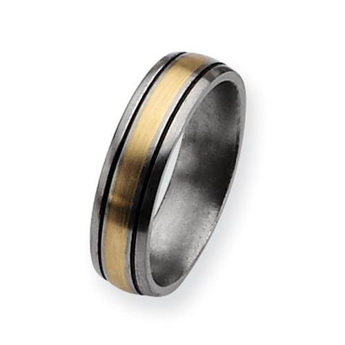 Titanium 14k Gold Inlay 6mm Brushed and Antiqued Comfort Fit Wedding Band (Size 10 1/2)