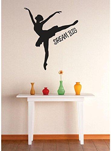 Design with Vinyl 1 Zzz 635 Decor Item Dream Big Ballerina Dancer Girls Kids Teen Quote Wall Decal Sticker, 12 x 12-Inch, Black