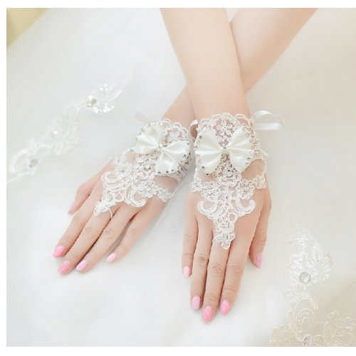 CIMC LLC Fingerless Bridal Short Bowknot Diamond Lace Embroidered Wedding Gloves,Ivory