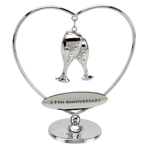 'Crystocraft' chrome plated, with swarovski crystal elements, 25th Anniversary, heart ring. An ideal silver anniversary gift (SP545).