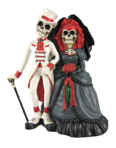Day Of The Dead Victorian Skeleton Wedding Statue