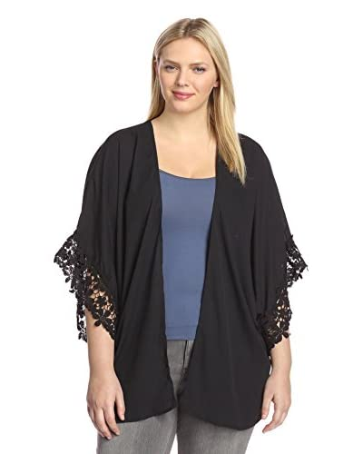 YASB Plus Women's Lace-Trimmed Open Cardigan