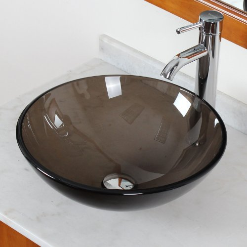 Brown Bathroom Sink : Reviews ELITE Bathroom Clear Brown Glass Vessel Sink Chrome Single ...