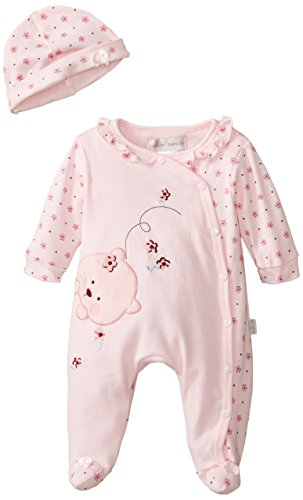 Rumble Tumble Baby-Girls Newborn Footed Coverall Hat Set, Pink, Preemie