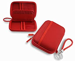 ZHPUAT Portable External Hard Drive Case Shockproof Carrying Case + Key Ring with Attached Lanyard - Red
