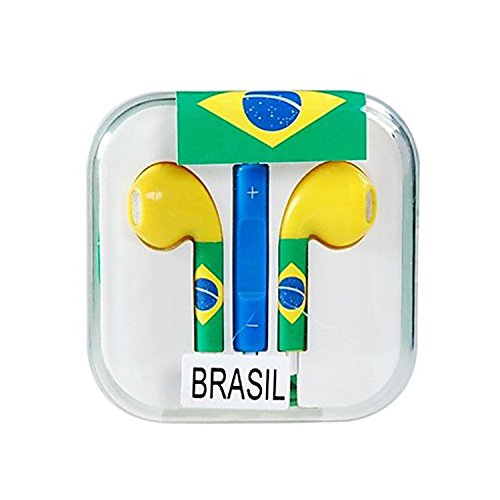 Vamvaz Fashion World Brasil Flag Design 3.5Mm Volume Controllable In-Ear Earphone With Microphone For Iphone 4 4G 4S 5 5S 5C Ipad 2 Mini 5 Air Ipod