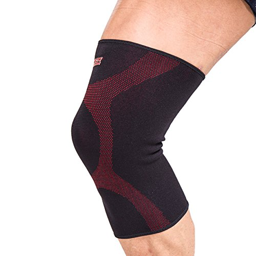 BOER2001 Unisex Protective lycra Knee Pads for Cycling Skiing Goalkeeper Soccer Football Volleyball Extreme Sports packing 1 piece black/red