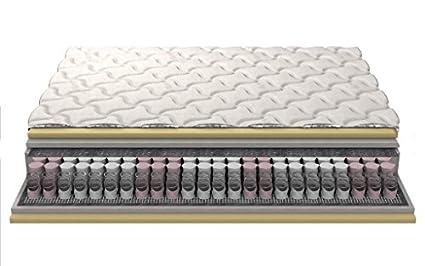 """Pocket materasso a molle VISCO Posh tasca molle doppia schiuma visco 20cm v 26cm a 3 strati trapuntato di copertura """"Silver"""" 180x200 cm"""