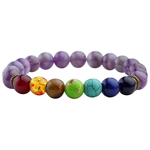 Top Plaza Jewelry Lava Rock Turquoise Matte Agate Picture Jasper Mens Womens Bracelet, Energy Beads, Gold Plated Lion Head (Amethyst/Chakra beads)