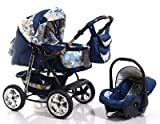 ADBOR Ring Max Combo Pram + Car Seat No.39 dark blue / flower