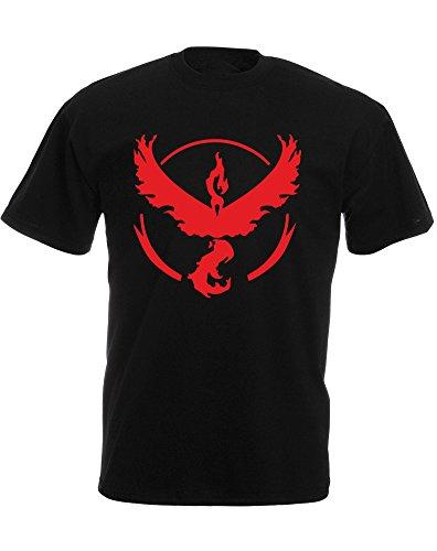 Team Valor Pokemon Go Badge, Mens Printed T-Shirt - Black/Red M
