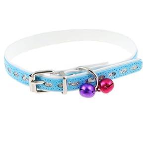 Uxcell Metal Jingle Bell Adjustable Pet Collar, 0.4-Inch Width, Blue/Purple/Fuchsia