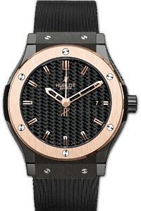 Hublot Classic Fusion Black Carbon Fiber Dial Rose Gold Black Rubber Mens Watch 511.CP.1780.RX