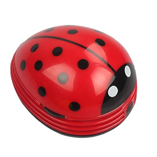 Cute Portable Beetle Ladybug cartoon Mini Desktop Vacuum Desk Dust Cleaner (Red#002) (Vacuum Cleaner Supplies compare prices)