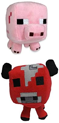 Minecraft 7 Animal Plush Pig Mooshroom Cow Set Of 2 by Jazwares