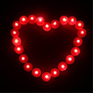 Liroyal 12-Pack Tealight Candle LED Red Flame by Liroyal