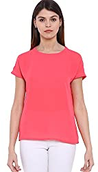 Pink Drop Shoulder Basic Top - L