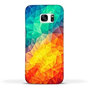 FUNKYLICIOUS Galaxy S7 Edge Back Cover Abstract Multi Color Cubizm Painting Design (Multicolour)