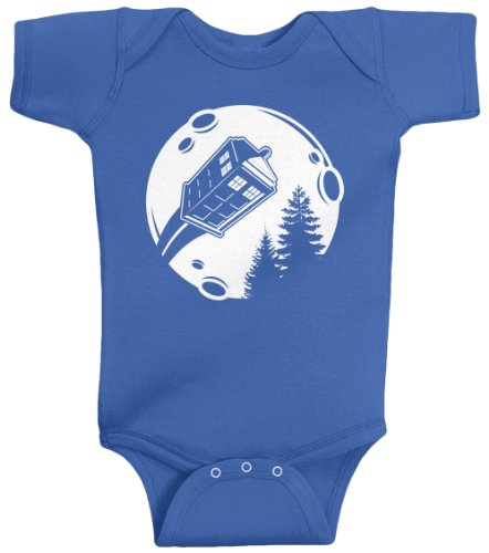 Threadrock Unisex Baby Flying British Police Box Bodysuit 6M Royal Blue back-950935