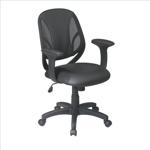 Office Star Screen Back Managers Chair with Black Urethane and Mesh Seat