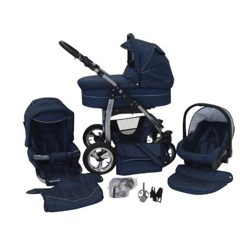 Chilly Kids Dino 3 in 1 Combi Pushchair Travel System with car seat & umbrella (Rain cover, mosquito net, car...