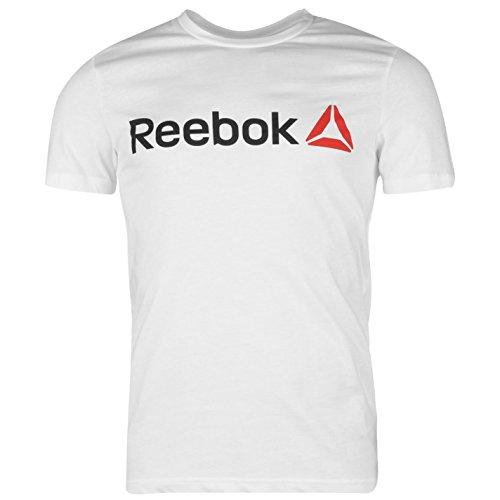 Reebok Men Delta T-Shirt con Logo maglietta da uomo scollo rotondo a maniche corte maglietta Top signor Mode bianco M