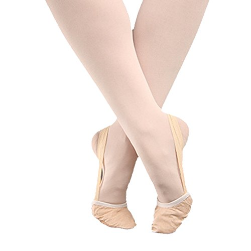 Women Girls Ballet Dance Genuine Leather Lyrical Nude Toe Half Shoes Pink