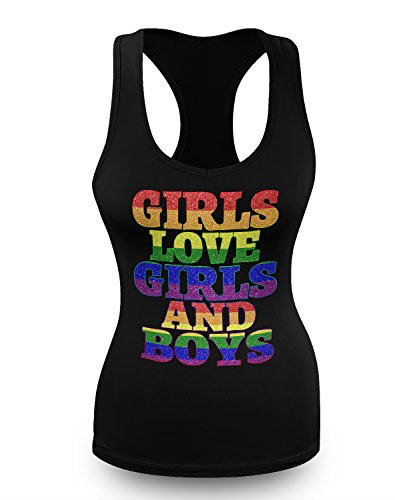 Girls Love Girls and Boys Panic Disco LGBT Gay Pride Juniors Tank Top XL (Disco Themed Clothes)