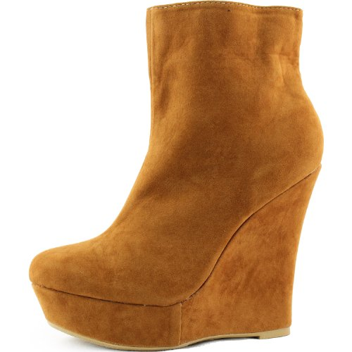Women's Anette01 Tan Velvet Wedge Boat Heel Booties Shoes, Tan, 5.5 Picture