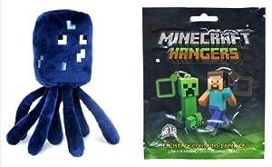 Minecraft Squid Plush & Official Minecraft Plastic Figure Hanger (1 Random Figure)
