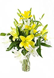 Lustrous Lilies In Bloom -With Vase