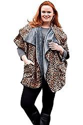 Women's Long Vest Jacket Coat Top Fleece Fur Lining Gray/Black & Brown Animal Print