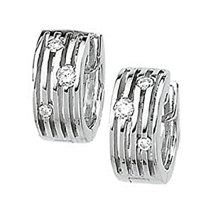IceCarats Designer Jewelry 14K White Gold Multi-Row Hinged Diamond Earring. 1/5 Ct Tw Pair