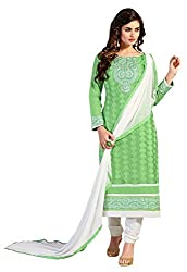 The Fashion World Green Colour Embroidery Worked Dress Material Crafted On Chanderi Fabric
