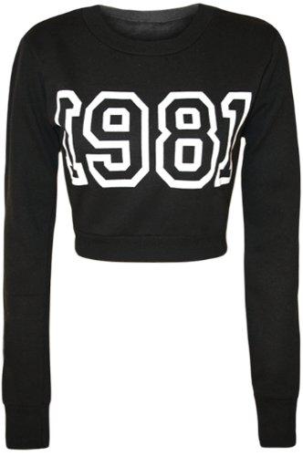 Womens Print Cropped Sweatshirt Ladies Long Sleeve Short Crew Neck Top - Black - 14