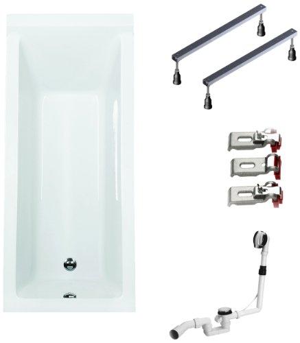 BWSET122WF Badewannen komplett Set inklusiv Acryl Rechteck Fußgestell und Über-Ablaufgarnitur, 170 x 75 cm