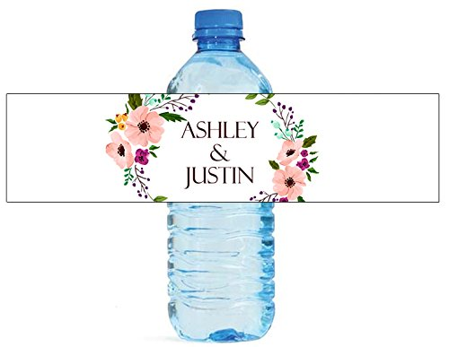 100 Floral Wreath Wedding Water Bottle Labels Engagement Party 8