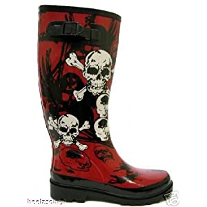 Red Skull Goth Emo Wellies Wellington Boots