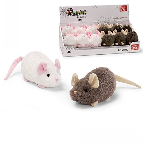 "Gund Creepers Mice Zip Alongs 5"" White"