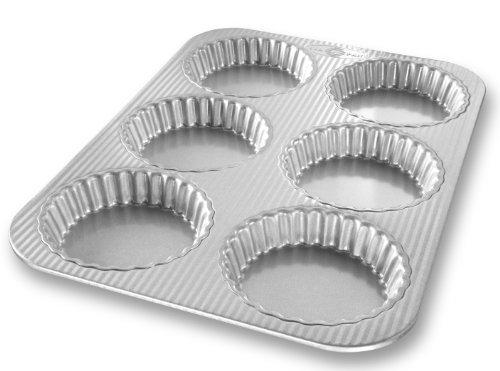 USA Pan Bakeware Aluminized Steel Mini Fluted Tart Pan, 6-Well