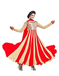 Clickedia Women Faux Gorgette Red And Cream Anarkali Suit- Dress Material