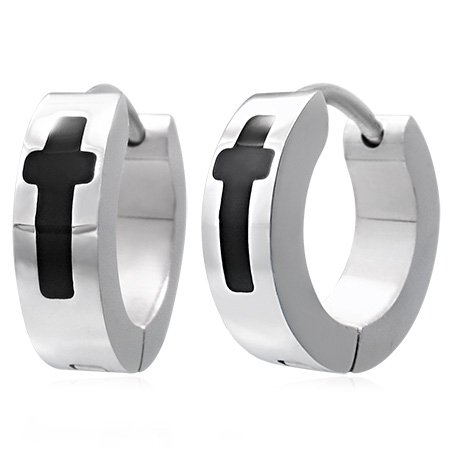 Stainless Steel Cross Huggie Hoop Earrings For Men, Women, Teen, Boy and Girl