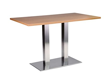 Daniella Stainless Steel Dining Table - Twin Base Oblong with 70x120cm Oak Top