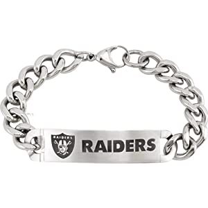 Oakland Raiders Official NFL Logo ID Curb Link Bracelet, Adjustable to 8 by The Men