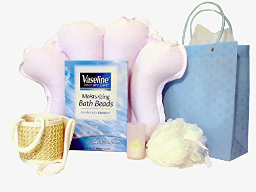 "Vaseline Intensive Care Moisturizing Bath Beads: ""Gentle Breeze"", Pouf Sponge, Sisal Back Scrubber, Terry Cloth Inflatable Bath Pillow, Three-Inch Flameless Votive Led Candle, Bundle - 5 Items"