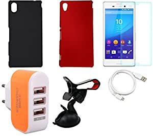 NIROSHA Tempered Glass Screen Guard Cover Case USB Cable Mobile Holder Charger for Sony Experia M4 - Combo