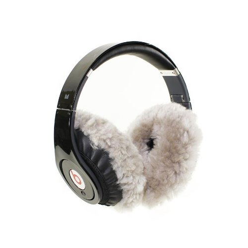 Earmuffies - Fur Earmuff Covers For Headphones - Large Sheepskin Light Grey (Fits Beats Beats Studio/Executive And Other Popular Headphones)